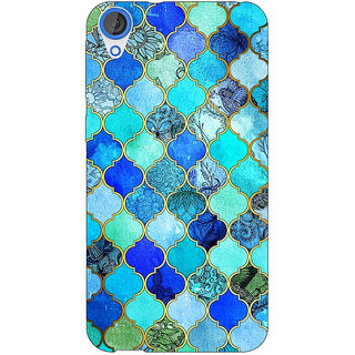 Enhance Your Phone Dark Blue Moroccan Tiles Pattern Back Cover Case For HTC Desire 820Q Dual Sim E360290