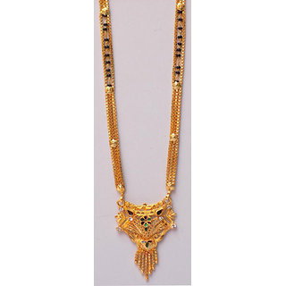 Beautiful Doller Gold Plated Black Bead Mangalsutra/Long Black Bead Chain
