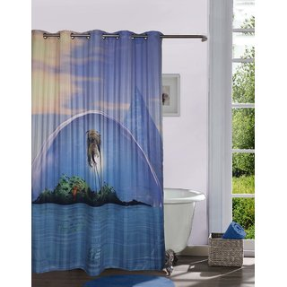 Buy Lushomes Digitally Printed Island Shower Curtain With 10 Eyelets Online