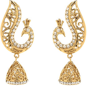 Traditional Ethnic Peacock Gold Plated Jhumki Dangler Earrings by Donna ER30101G