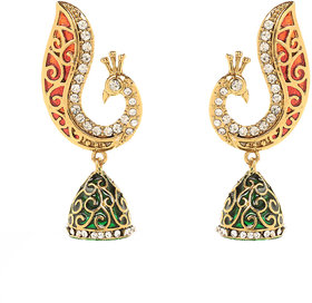 Traditional Ethnic Peacock Gold Plated Jhumki Dangler Earrings by Donna ER30102G