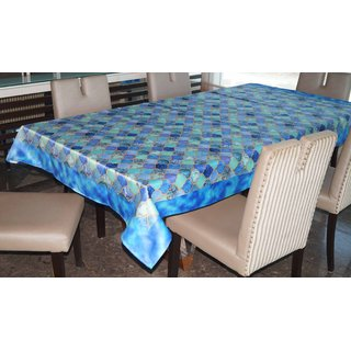 Lushomes Digital Printed Blue Themed Table Cloth For 6 Seater