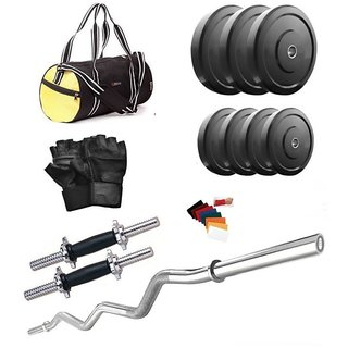 Body Fit 12 Kg Home Gym, 3ft Curl Rod, 2x14inch Dumbell Rods With Grip And Gym Bag
