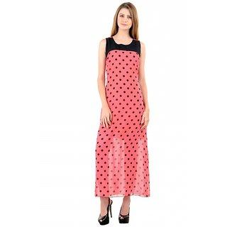 Raabta Peach with Black Polka Dotted Long Dress with Black Yoge