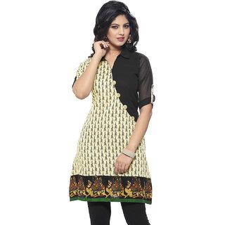 SuratTex Black Floral Silk Stitched Kurti