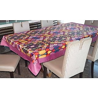 Lushomes Digital Printed Pink Themed Table Cloth For 6 Seater