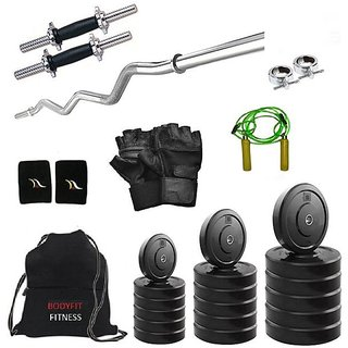 Total Gym 18 Kg Home Gym, 14 Inch D.rod, Curl Rod, Gym Bag, Glove, Rope And Band