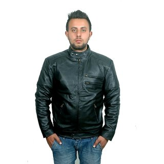 V4M Black Biker Leather Jacket - S