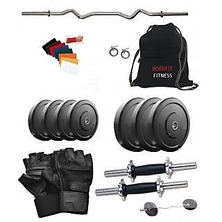 Body Fit 10 Kg Home Gym 3ft Curl Rod Dumbell Rods, Gym Bag, Gloves, Wrist Band