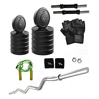 Body Fit 45 Kg Home Gym, 3ft Curl Rod, Dumbell Rods With Grip