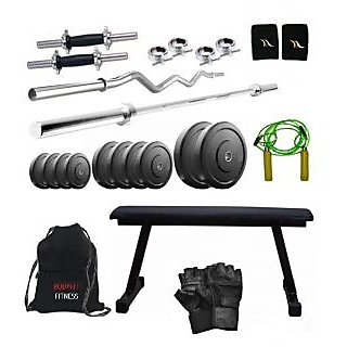 Total Gym 110 Kg Home Gym,2 Dumbbell Rods, 2 Rods(5ft, 3ft Curl), Flat Bench, Gym Bag