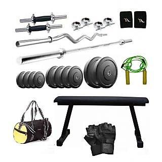 Total Gym 18 Kg Home Gym,2 Dumbbell Rods, 2 Rods(5ft, 3ft Curl), Flat Bench, Gym Bag