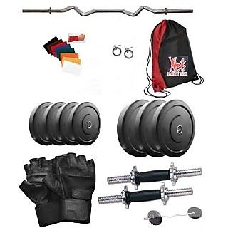 Total Gym 50 Kg Home Gym Weight Plates Including 3ft Curl Rod With 2 X14 Inch Dumbell Rods And Red Gym Bag