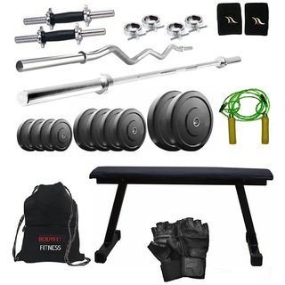 Total Gym 62 Kg Home Gym,2 Dumbbell Rods, 2 Rods(5ft, 3ft Curl), Flat Bench, Gym Bag