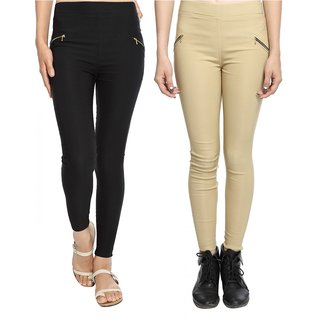 Wajbee Women Solid Color Cotton Lycra Jegging-Pack of 2