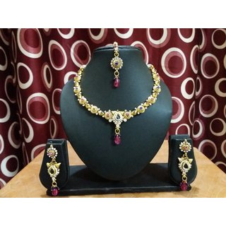 high gold polish traditional neckless set