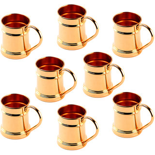 Rime India() Pure Copper Hero Moscow Mule Mug , Capacity - 600 ML, Set of 8 Mug