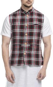 Lavennder Black Khadi Nehru Jacket