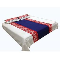 Imaginations By Kuntal'S White Bedsheet With Red Floral Border Set