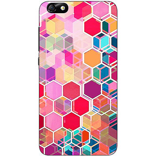 Enhance Your Phone Red Blue Hexagons Pattern Back Cover Case For Huwaei Honor 4X
