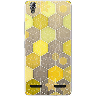 Enhance Your Phone Yellow Hexagons Pattern Back Cover Case For Lenovo A6000 Plus