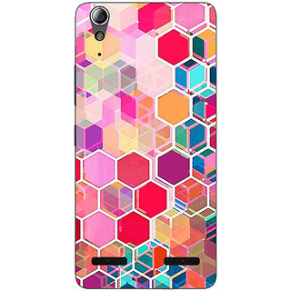 Enhance Your Phone Red Blue Hexagons Pattern Back Cover Case For Lenovo A6000 Plus