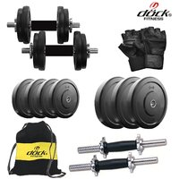 Dock 16 Kg Rubber Weight +14 Dumbbell Rods + Gym Backpack Assorted + Accessories DY-16KGDMCOMBO3