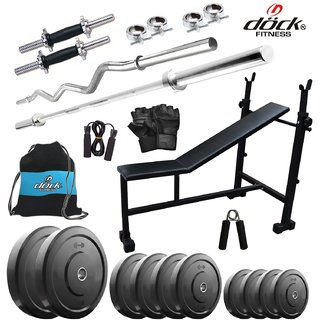 Dock 58Kg Home Gym + 14 Dumbbells + 2 Rods + 3 In 1 (I/D/F) Bench+ Gym Backpack Assorted + Accessories DB-58KGCOMBO5