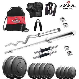 Dock 20 Kg Home Gym + 14 Dumbbells + 2 Rods + Gym Backpack Assorted + Accessories DR-20KGCOMBO2