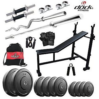 Dock 58Kg Home Gym + 14 Dumbbells + 2 Rods + 3 In 1 (I/D/F) Bench+ Gym Backpack Assorted + Accessories DR-58KGCOMBO5
