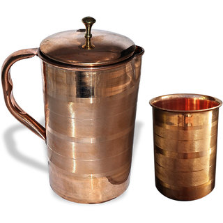 Rime India() Pure Copper Luxury Water JUG with 1 Glasses Ayurvedic Healing