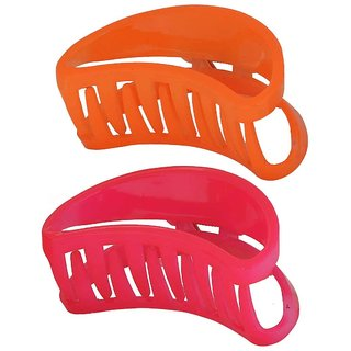 Maayra Pair of Orange Pink Contemporary Office Hair Clutchers