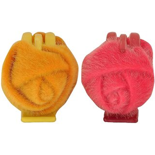 Maayra Pair of Pink Yellow Designer Cocktail Hair Clutchers