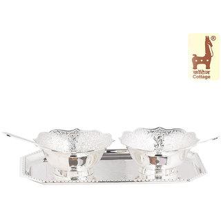 Cottage Emporium Silver Katoris, Spoons And Tray Set (Set Of 5)