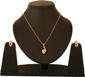 Touchstone Gold Plated Gold Alloy Pendant With Chain & Earrings for Women