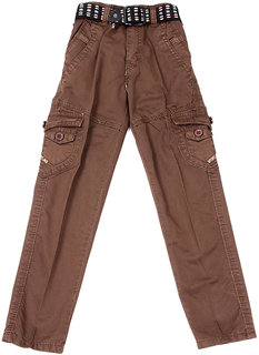Brothers Brown Cotton Washed Jeans for Boys
