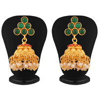 Touchstone Gold Plated Traditional Jhumki Earrings PWETL332-01RE-Y