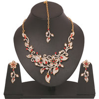 Touchstone Leaf Style Attractive Necklace Set With Maangtika PWNSL274-01AR-G