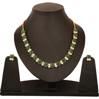 Touchstone Gold Plated Green Alloy Necklace Set For Women