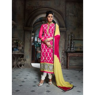 Star Fashion Georgette Embroidered Semi stitched Salwar Suit Dupatta Material