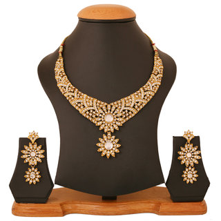 Touchstone Antique Gold Plated Ethnic Necklace Set PWNSL419-01A--G