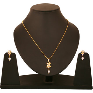 Touchstone X Shaped Pearl Pendant Set FGPSA051-01A--Y