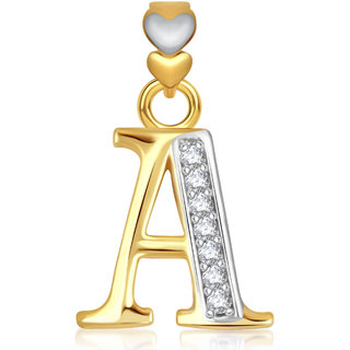 e88724582a9ee VK Jewels Alphabet Collection Initial Pendant Letter A Gold and Rhodium  Plated - P1736G VKP1736G