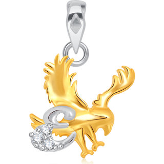 VK Jewels Alphabet Collection Initial Pendant Letter E Gold and Rhodium Plated for Kids - P1577G VKP1577G