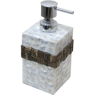 Opulent Homes White mother of pearl with taadi band soap dispenser