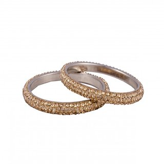 R18Jewels-Fashion&U Princess Sparkle Metal, Crystal Bangle Set (2 Pcs) for Women