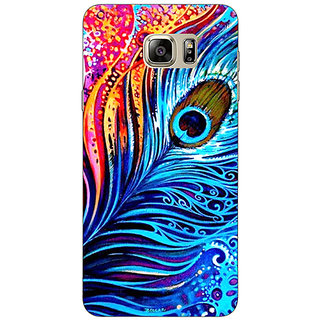 Enhance Your Phone Peacock Feather Back Cover Case For Samsung S6 Edge+