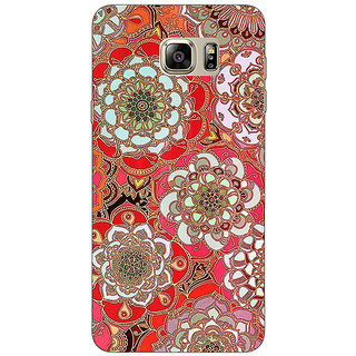 Enhance Your Phone Orange Flowers Pattern Back Cover Case For Samsung S6 Edge+