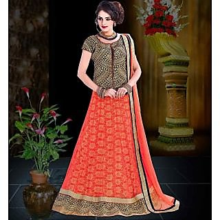 Simple Orange Net Wedding Lehenga Choli