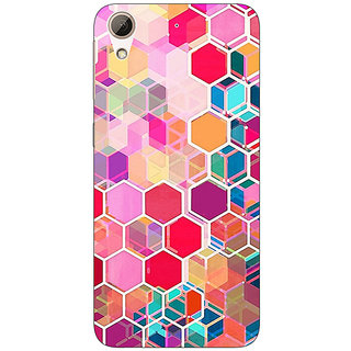 Enhance Your Phone Red Blue Hexagons Pattern Back Cover Case For HTC Desire 626G